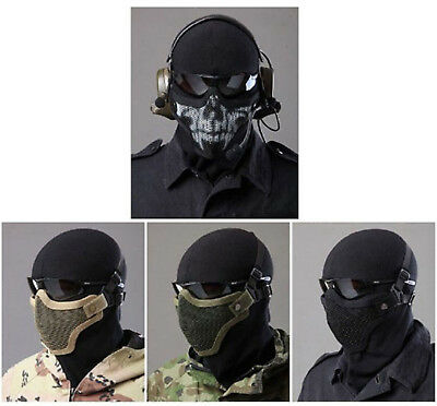 New Tactical Airsoft Metal Mesh Mask Half Face Guard Protective Gear Sparta Mask