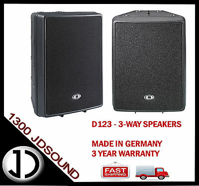 2x Dynacord D123 3-way passive speakers D-lite series- Made in Germany