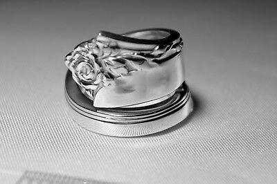 Antique Heirloom DAMASK ROSE Sterling Bypass Spoon Ring Free Shipping