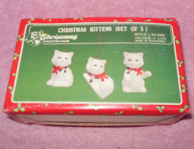 Vintage House Of Lloyds Set Of 3 Kittens Cats Christmas Ornaments Nib