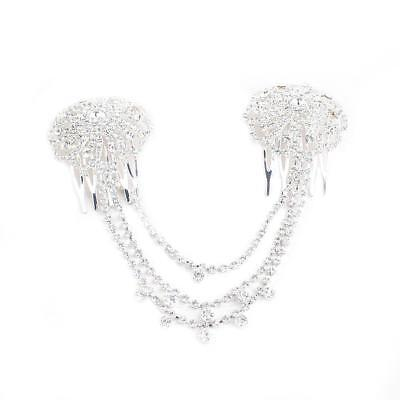 Bridal Flower Hair Comb Wedding Diamante Crystal Pearl Clip Slide Headband Pop.