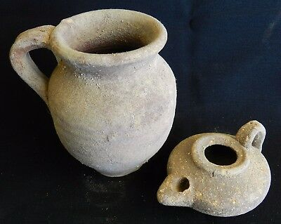 Biblical Ancient Byzantine Roman Clay Pottery Pitcher Jug & Oil Lamp Terracotta