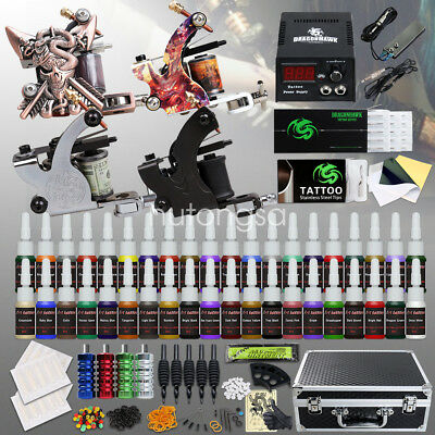 Beginner Tattoo Kit 4 Machine Gun 40 color Ink Power supply needle Grip Tip h