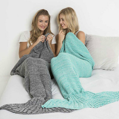 Mermaid Tail Blanket Adults & Kids Knitted Super Soft Flannel Sleeping Bag Rug