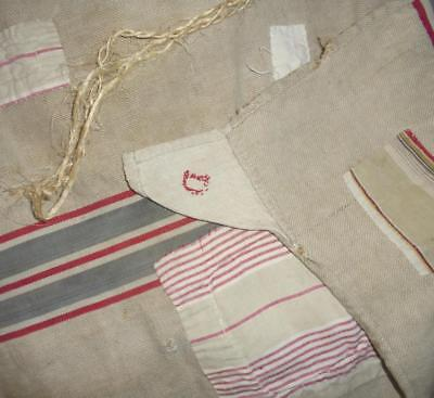 1.32m FRENCH 19th CENTURY RUSTIC LINEN HEMP GRAIN SACK, PATCHED & DARNED