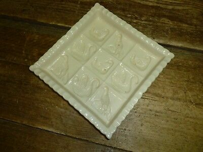 1869 Victorian Pottery Cream Square Ceramic Shortbread Mould Tray 19cm Birds