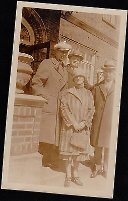 Old Vintage Antique Photograph Three Men & One Woman Great Outfits & Hats