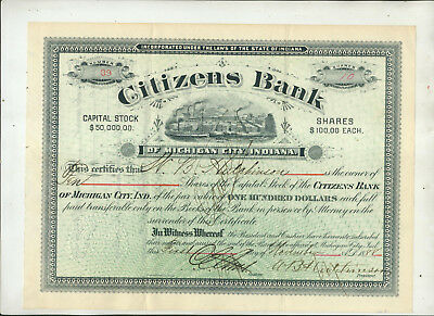 1888 Citizens Bank Of Michigan City Indiana Stock Certificate Issue #39