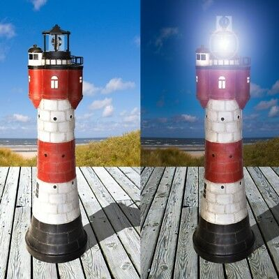 XL Solar-Leuchtturm ROTER SAND mit rotierender LED-Beleuchtung Solarbeleuchtung