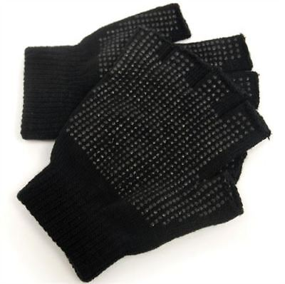 2 x Pairs Adults Black Fingerless Gripper Gloves - One Size, Men or Women