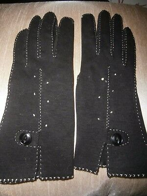 VINTAGE BLACK COTTON LADIES HAND STITCHED GLOVES ~ size 6 1/2  EMPIRE MADE