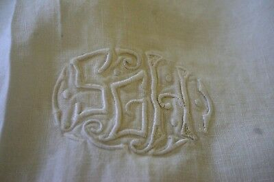 "Beautiful Vintage Linen Sheet With ""Sgh"" Mono & Hemstitching Tt427"