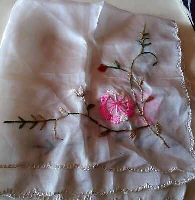 Vintage Ladies Pure Silk Hand Embroidered Flowers Hankie15.5 inches square