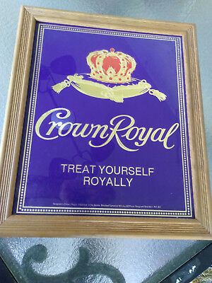 """Beautiful Crown Glass Royal Sign with Wood Frame  apprx 17"""" x 20"""""""