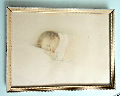 "Vintage Annie Benson Muller Baby Print - ""Little Dream"" - Framed 9"" X 12"""