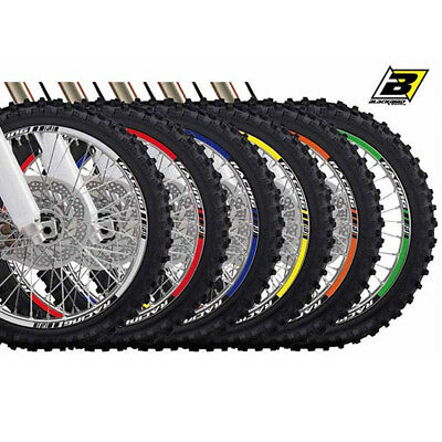 "Kit Adesivi Cerchio Cerchione 18"" 19"" Racing Tuning Moto Cross Off Road Enduro"