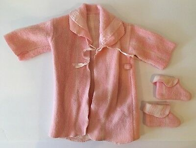 Vintage Pink Girls Toddlers Child's Bathrobe With Matching Slippers Booties