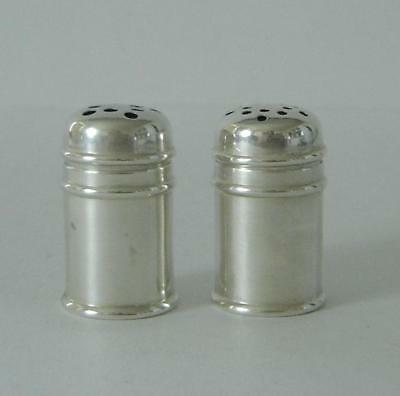 A Small Pair Of Vintage Sterling Silver Salt & Pepper Pots