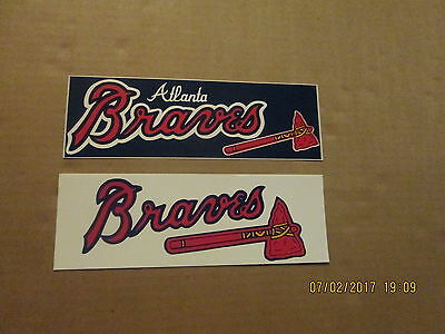MLB Atlanta Braves Vintage 1980's Lot of 2 Different Logo Bumper Stickers