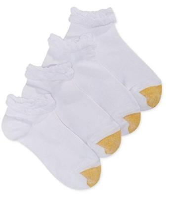 GoldToe Ruffle Low Cut Socks 4 Pair White Sock Size 9-11 Shoe Size 6-9 NWT