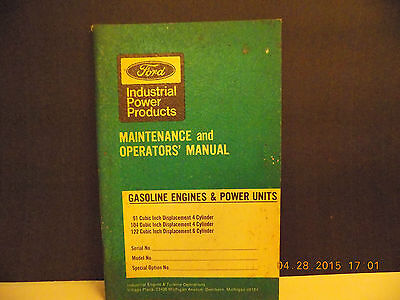 Ford Gasoline Engines & Power Unit 1971 Maintenance & Operator Manual 4 & 6 Cylr