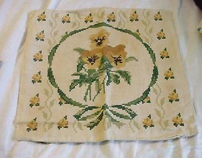 Vintage Cross Stitch Embroidery Pillow Cover Pansies Yellow Green Gold PRETTY!