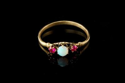 Antique Victorian Opal Ruby 14K Gold Ring A802-06