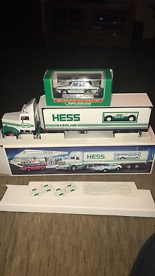 NEW 1992 Hess Tractor Trailer & Car And 2003 Mini Police Car FREE Shipping