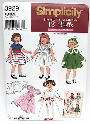 "Retro 1952 Simplicity 18"" Doll Clothes Patterns 3929 Uncut Fits American Girl"