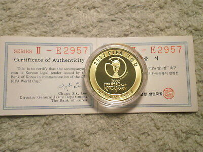 2002 PROOF 1/2 Oz 999 GOLD 20,000 WON FIFA WORLD CUP KOREA-JAPAN/ BOX & COA