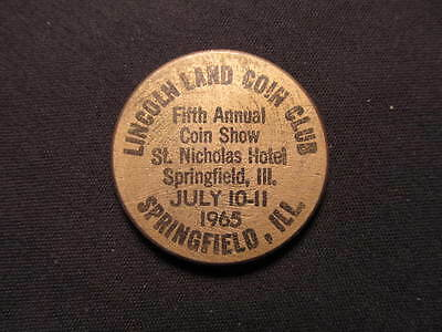 1965 Springfield, Illinois Wooden Nickel token - Lincoln Land C.C. 5th Show Wood