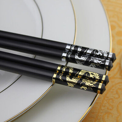 1 Pair Japanese/Korean Chopsticks Alloy Non-Slip Sushi Chop Sticks Gold/Silver