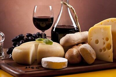 "Wine Bread Cheese Kitchen Dining Room 16""x20"" Canvas Pictures Wall Art Prints"
