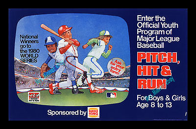 Burger King PITCH, HIT & RUN Baseball Card WORLD SERIES CONTEST TRANSLITE POSTER