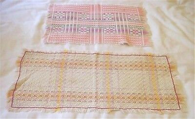 2 Vintage Hand Woven Table Runners Centerpiece Cloths Beautiful Hand Work Colors