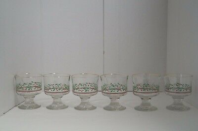 6 Christmas Sherbet Glasses Arbys 1986 Vintage Holly & Berry With Gold Rim EUC