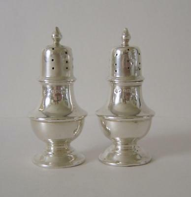 A Pair Of Antique Sterling Silver Pepper Pots Birmingham 1916 Deakin & Francis