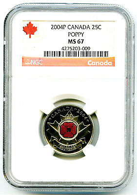 2004 P Canada 25 Cent Ngc Ms67 Poppy Quarter Colorized Rare Grade Low Pop