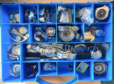 Job Lot Watches Spares Repairs In Organiser Box Sekonda Citizen Timex Raymar