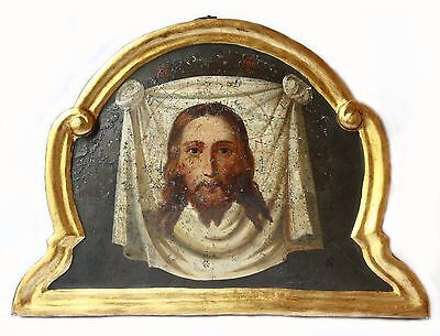 Antique 19th Century Russian Hand Painted Wooden Icon of the Holy Face