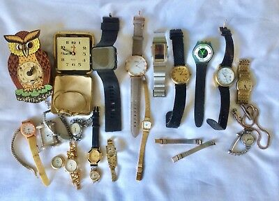 Job Lot X21 Clocks Ladies Gents Watches Sekonda Rotary Timex Rone Spares Repairs
