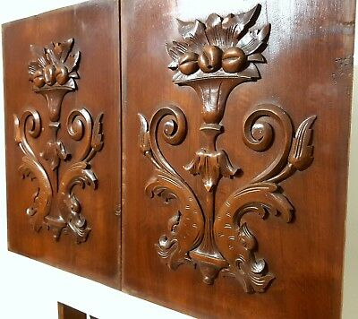 Hand Carved Wood Panel Matched Pair Antique Griffin Bowl Architectural Panelling