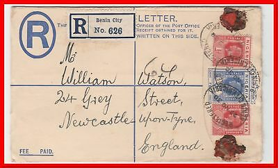 Nigeria Benin City 1930 Registered Uprated Stationery Cover KGV to England