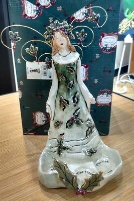 Clayworks Goldminc Christmas Holly Berry Angel Tea Light Holder Nib