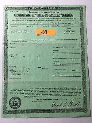 1967 Rambler Station Wagon North Carolina Title Document Lot#09