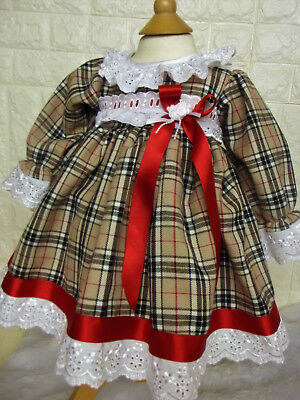 DREAM 0-3  3-6 MONTHs  SPANISH TRADITIONAL  BEIGE TARTAN  DRESS  or reborn DOLL