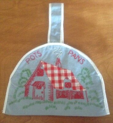 Vintage Embroidered Wall Hanging, Gingham House, Trees & Grass, Pots & Pans