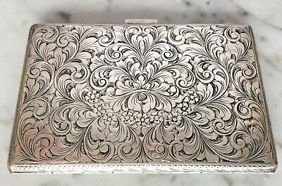 Engraved 800 Silver Cigarette Compack Filigree Scrolled Leaves & Flower Suface