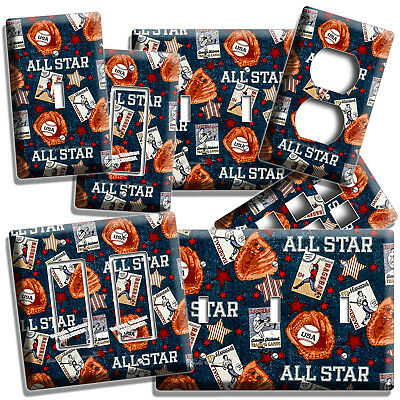 Baseball Vintage All Star Light Switch Power Outlet Wall Plate Cover Room Decor