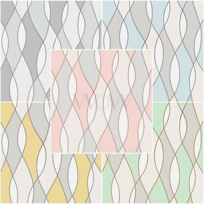 Fine Decor Apex Wave Geometric Wallpaper Metallic - Rose Gold, Grey, Blue & More